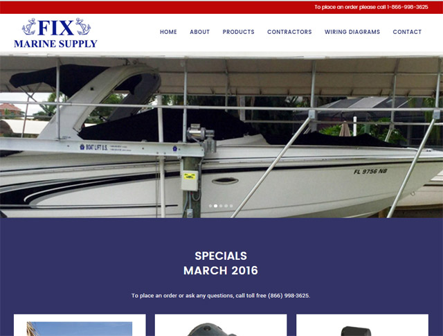 Fix Marine Supply Website Design