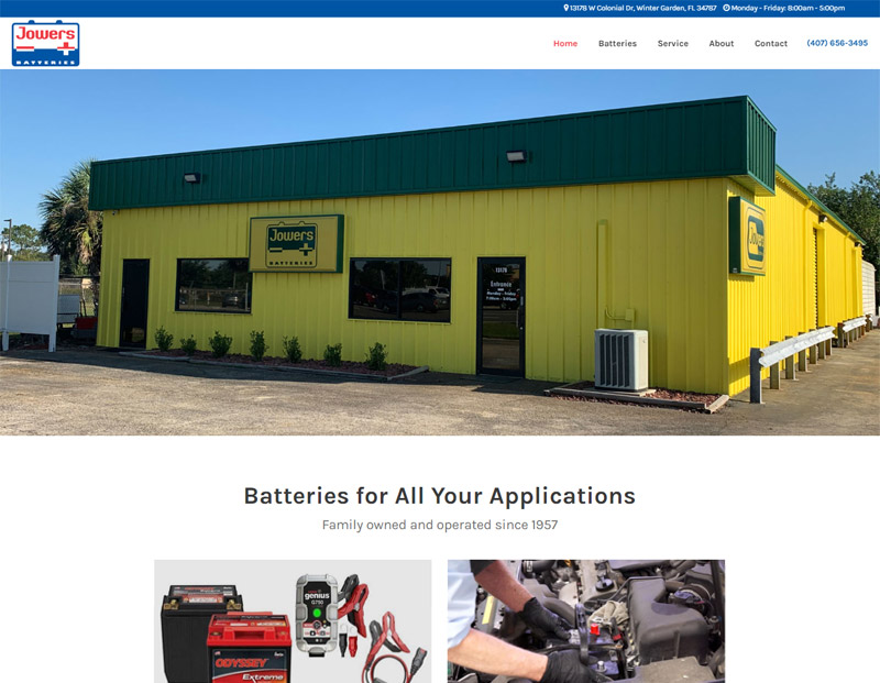 Jowers Batteries Website Redesign